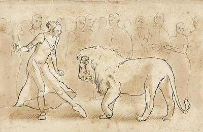 Circus Drawing - The Presentation by H James Hoff