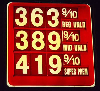 Premium Gas Photograph - The Price Of Gas by Sharon L Stacy