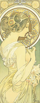 French Signs Drawing - The Primrose by Alphonse Marie Mucha