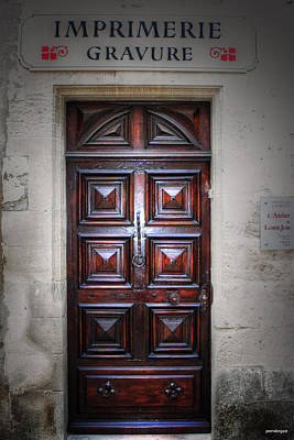 Gravure Photograph - The Print Shop Door France by Tom Prendergast