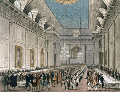 The Procession At Freemasons Hall Print by Joseph Constantine Stadler