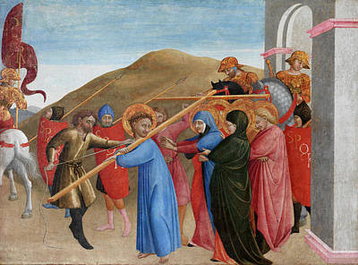 Crucifix Painting - The Procession To Calvary by Sassetta