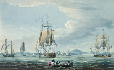Docks And Boat Painting - The Prometheus And The Melpomene In The Gulf Of Riga by Thomas Whitcombe