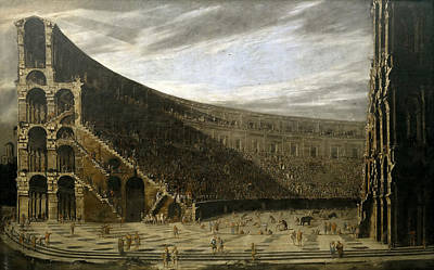 Domenico Gargiulo Painting - The Prospect Of A Roman Amphitheater by Viviano Codazzi and Domenico Gargiulo