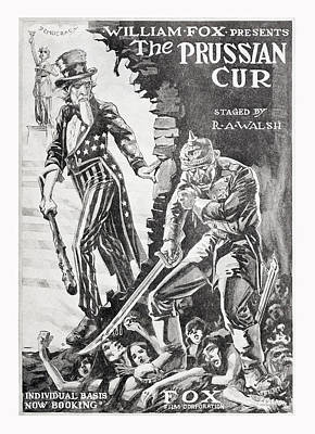 Democracy Drawing - The Prussian Cur 1918 Movie Advertisement by Vintage Product Ads