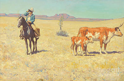 Dixon Painting - The Puzzled Cowboy by Celestial Images