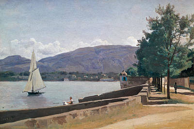 Calm Painting - The Quai Des Paquis In Geneva by Jean Baptiste Camille Corot
