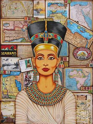 Egyptian Mixed Media - The Queen Of Amarna by Joseph Sonday
