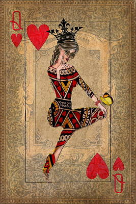 Crown Mixed Media - The Queen Of Hearts by Terry Fleckney