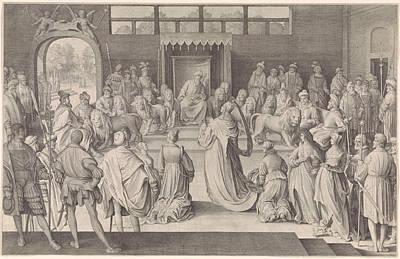 Throne Room Drawing - The Queen Of Sheba Kneels Before King Solomon In The Throne by Nicolaes De Bruyn