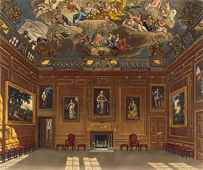 Panel Drawing - The Queens Audience Chamber, Windsor by Charles Wild