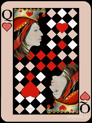 Hearts Digital Art - The Queen's Card In Pink by Carol Jacobs