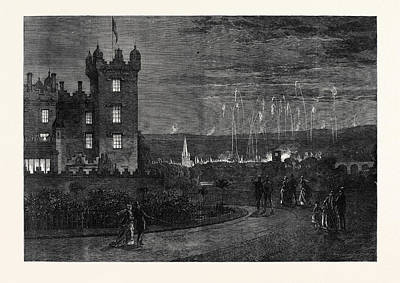 Fireworks Drawing - The Queens Visit To The Scottish Border The Fireworks by English School