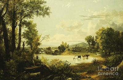Sip Painting - The Quiet Valley by Jasper Francis Cropsey