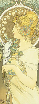 French Signs Drawing - The Quill by Alphonse Marie Mucha