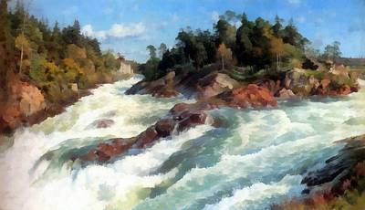 Raging Digital Art - The Raging Rapids by Peder Mork Monsted