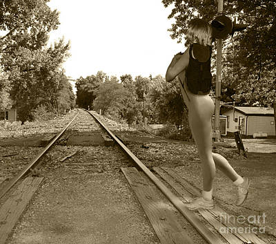 Nudes Photograph - The Railroad Crossing by Broken  Soldier