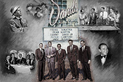 Actor Mixed Media - The Rat Pack by Viola El