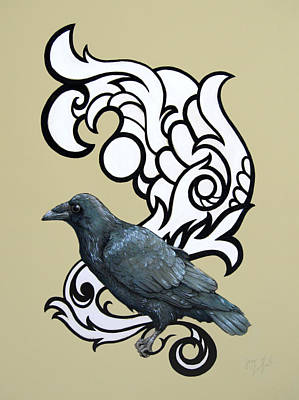 Damask Drawing - The Raven by Jessie Guilford
