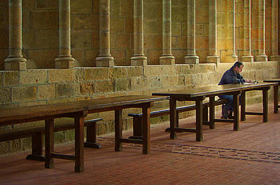 Dining Hall Photograph - The Reader - Refectory - Mont-saint-michel by Nikolyn McDonald