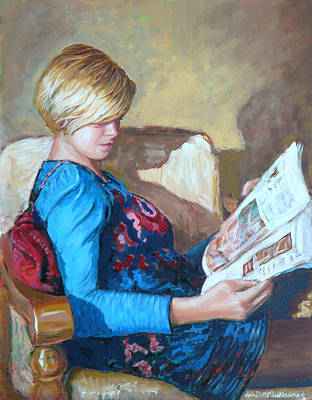 Clare Painting - The Reader by Tomas OMaoldomhnaigh