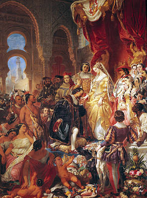The Reception Of Christopher Columbus By Ferdinand II Of Aragon And Isabella Print by Eugene Deveria
