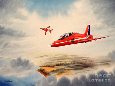 Raf Painting - The Red Arrows - Bae Hawk T1a by Bill Holkham