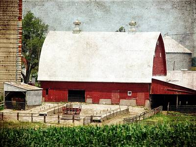 Barn Digital Art - The Red Barn by Cassie Peters