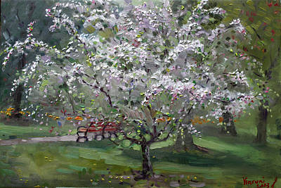 Tree Blossoms Painting - The Red Bench by Ylli Haruni