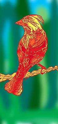 Animal Digital Art - The Red Bird  by Mario Perez
