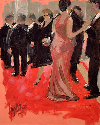Cocktail Dress Painting - The Red Carpet In The White House by Nop Briex