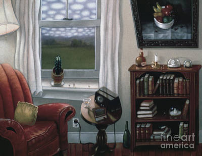 Interior Still Life Painting - The Red Chair 1997 by Larry Preston