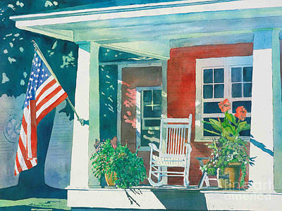 Flags Painting - The Red Cottage by LeAnne Sowa