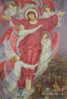Fantasy World Painting - The Red Cross by Evelyn De Morgan