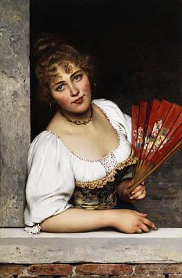 The Red Fan Print by Eugene de Blaas
