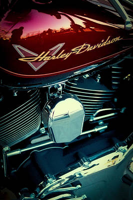Classic Cycle Photograph - The Red Harley II by David Patterson