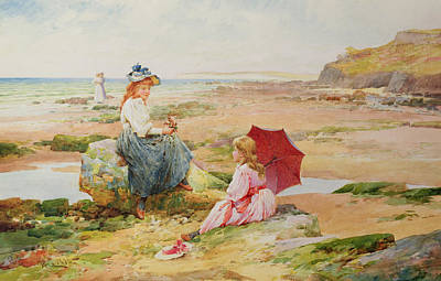 Moss Painting - The Red Parasol by Alfred Glendening Jr
