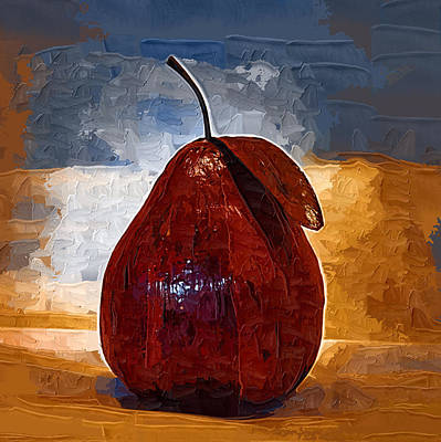 Paper Mache Painting - The Red Pear by Kirt Tisdale