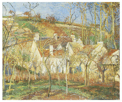 The Red Roofs Corner Of A Village Winter Print by Camille Pissarro