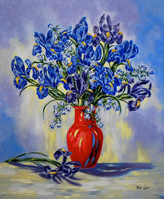 Print Of Irises Painting - The Red Vase by Jan Law