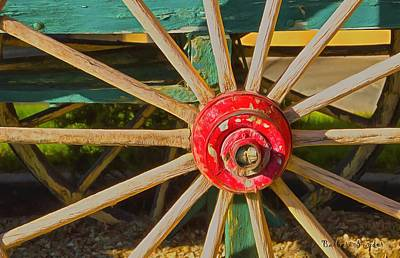 Spokes Painting - The Red Wagon Hub by Barbara Snyder