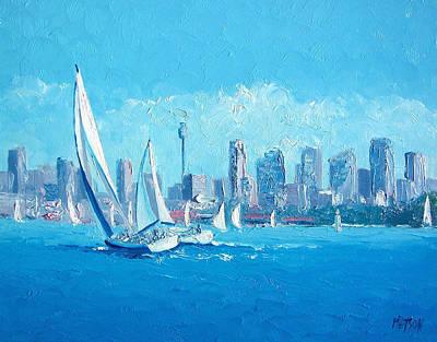 Sydney Skyline Painting - The Regatta Sydney Habour By Jan Matson by Jan Matson