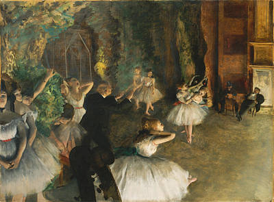 Rehearsal Painting - The Rehearsal Of The Ballet Onstage by Edgar Degas