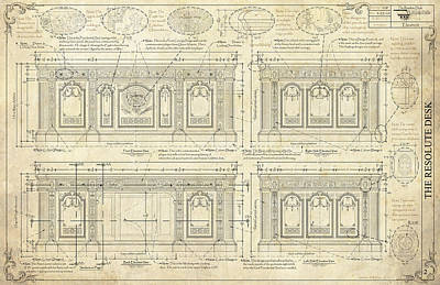 The Resolute Desk Blueprints / Ivory Scroll Print by Kenneth Perez