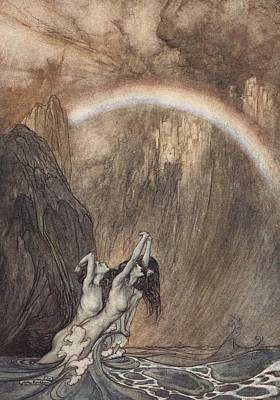 Extinct And Mythical Drawing - The Rhine S Fair Children Bewailing Their Lost Gold Weep by Arthur Rackham