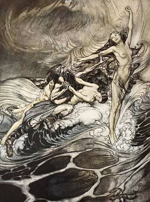 Extinct And Mythical Drawing - The Rhinemaidens Obtain Possession Of The Ring And Bear It Off In Triumph by Arthur Rackham