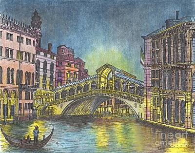 Italy Mediterranean Art Tuscany Mixed Media - Relections Of Light And The Rialto Bridge An Evening In Venice  by Carol Wisniewski