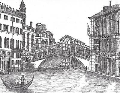 Covered Bridge Drawing - The Rialto Bridge Venice Italy Bw by Carol Wisniewski