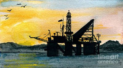 Sea Platform Painting - The Rig by R Kyllo