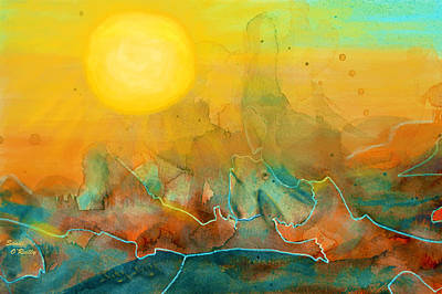 Grand Canyon Mixed Media - The Rising Sun by Sandi OReilly